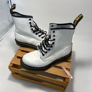 Dr. Martens white yellow stitching combat boots